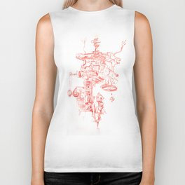 Abstract Lines, Linear Pyramid Space Biker Tank