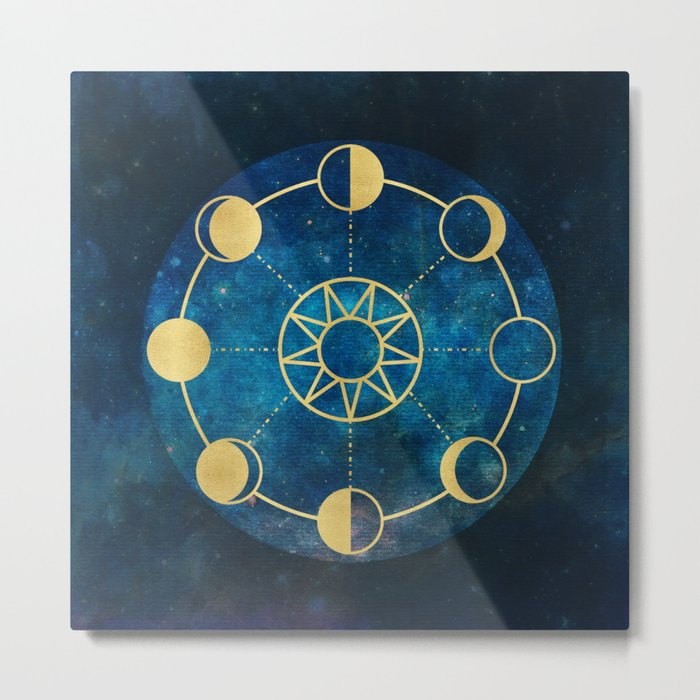 Gold Moon Phases Sun Stars Night Sky Navy Blue Metal Print