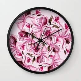 Beautiful pink magnolia flowers in watercolor style Wall Clock