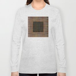 Patched plaid tiles pattern Long Sleeve T-shirt