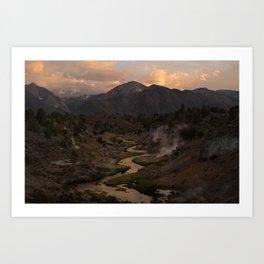 Hot Creek Sunset in the Sierras Art Print