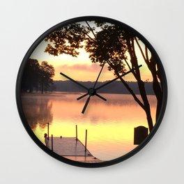 Dock at Sunrise Wall Clock