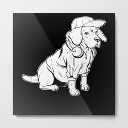Dogs Funny Cute Dog Holder Pet Animal Puppy Gift Metal Print