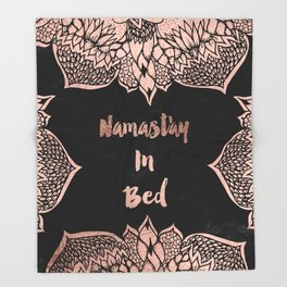 Modern rose gold handdrawn mandala quote namastay in bed Throw Blanket