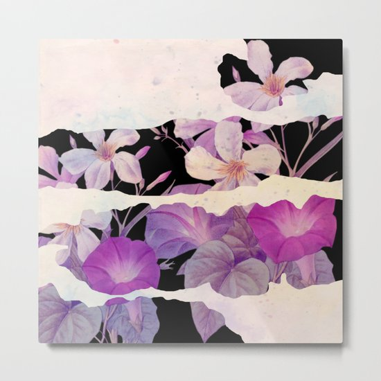 floral on torn paper Metal Print