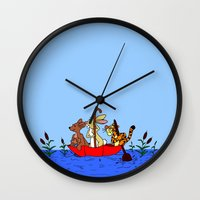 tigger Wall Clocks featuring Floating umbrella by BlackBlizzard