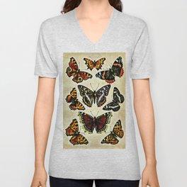 Vintage Butterflies Collage Unisex V-Neck
