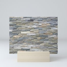 Gray Slate Stone Brick Texture Faux Wall Mini Art Print