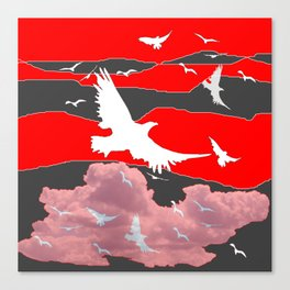 WHITE BIRDS IN FLIGHT RED-GREY SKY ABSTRACT Canvas Print