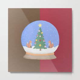 Snow Globe Christmas Tree Foxes Metal Print