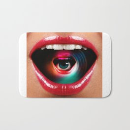 Mouth and Eyeball Double Exposure Bath Mat