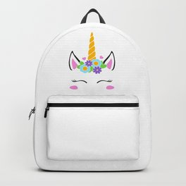 Unicorn face, unicorn head, flower unicorn eyelashes, girl birthday Backpack