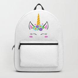 Unicorn face, unicorn head, flower unicorn eyelashes, girl birthday Backpack