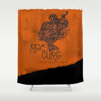 the cure Shower Curtains featuring Rex's Cure by JBSalsbury
