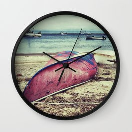 old red boat Wall Clock