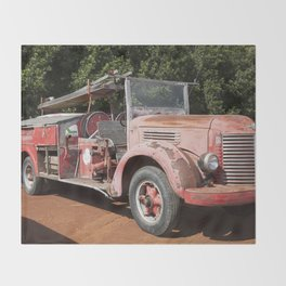 Old Fire Truck Throw Blanket