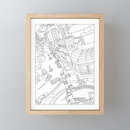 Downtown (Orange and Blue Towers) Framed Mini Art Print