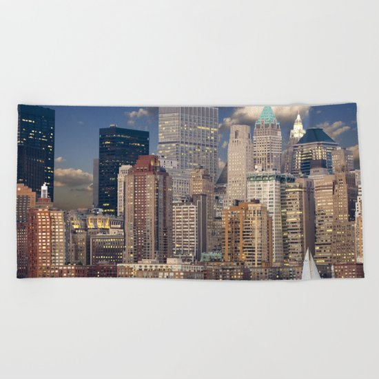 Downtown NYC at twilight Beach Towel