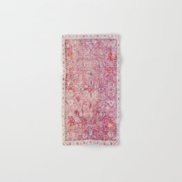 N45 - Pink Vintage Traditional Moroccan Boho & Farmhouse Style Artwork. Hand & Bath Towel