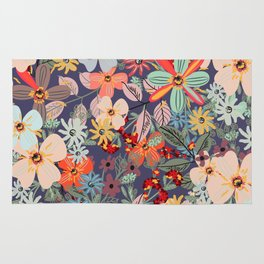 Rustic pattern with many colored flowers. Simple pretty style Rug