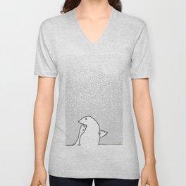 Art print: The Polar Bear family and snow flakes Unisex V-Neck