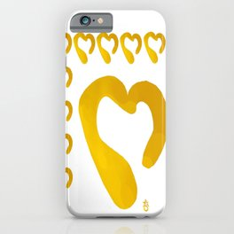 Gold Hearts on White - Love is Golden iPhone Case