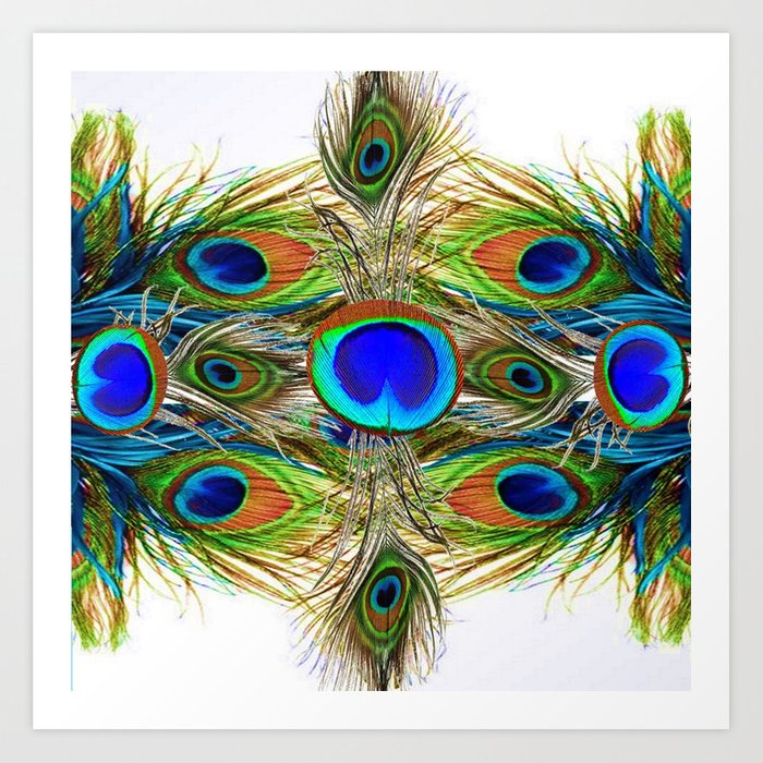 AWESOME BLUE-GREEN PEACOCK FEATHERS ART Art Print by ...