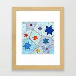 Hanukkah Stars of David Mosaic in Light Blues Framed Art Print