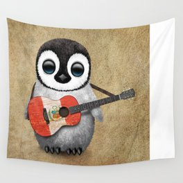 Baby Penguin Playing Peruvian Flag Acoustic Guitar Wall Tapestry