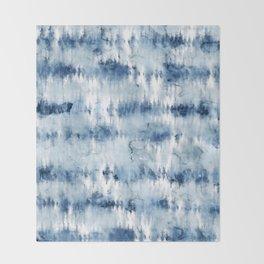 Modern hand painted dark blue tie dye batik watercolor Throw Blanket