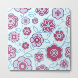 Pink and Purple Daisies w/Blue Background Metal Print