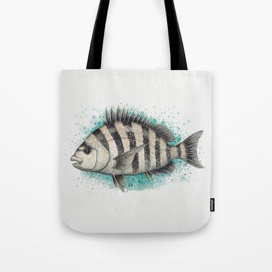 Sheepshead Splash ~ Watercolor Fish Painting by Amber Marine Tote Bag