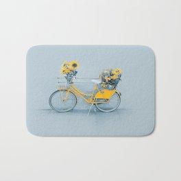 Yellow vintage bike with sunflowers Bath Mat