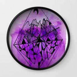 doodle mountain range Wall Clock
