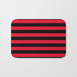 Black and Apple Red Medium Stripes Bath Mat