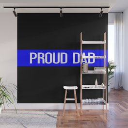 Police: Proud Dad (Thin Blue Line) Wall Mural