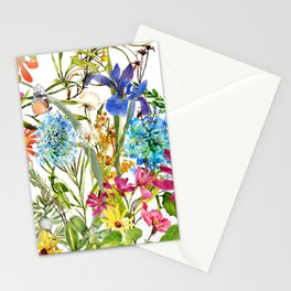 Watercolor flower garden party with butterfly Stationery Cards