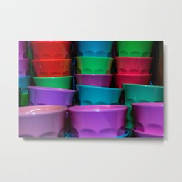Plastic Coloured Cups Metal Print