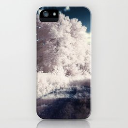 Winter Ice Storm with frozen trees and blue sky iPhone Case
