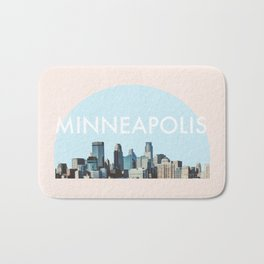 Minneapolis Minnesota Skyline Typography Simple Bath Mat