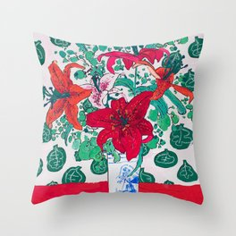 Tropical Lily Bouquet in Delft Vase with Matisse Leaf Cutout Background Throw Pillow