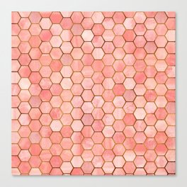 Coral and Gold Hexagonal Geometric Pattern Canvas Print