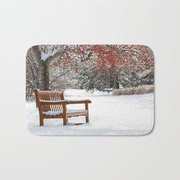 Winter Bench and Crabapple Tree Bath Mat