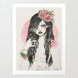 Doll bjd with flowers Art Print
