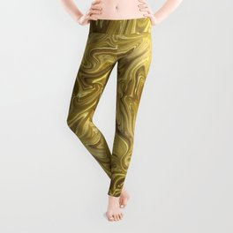 Rich Gold Shimmering Glamorous Luxury Marble Leggings