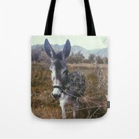 """donkey Tote Bags featuring """"Retro Donkey"""" by Guido Montañés"""