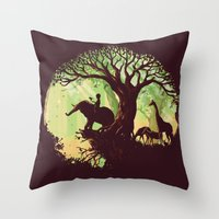 jungle Throw Pillows featuring The jungle says hello by Picomodi