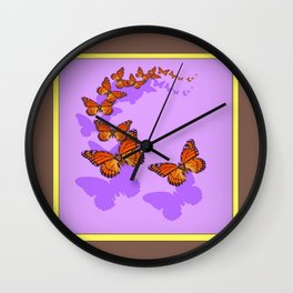 Monarch Butterflies Migration in Lilac Purple Graphic Art Wall Clock