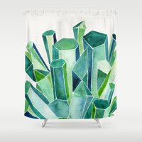 emerald Shower Curtains featuring Emerald Watercolor by Cat Coquillette