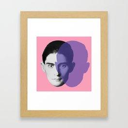 Franz Kafka - portrait pink and purple Framed Art Print